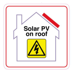 Solar PV On Roof warning Label | Wagner Renewables